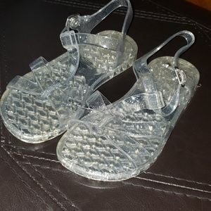 Old navy clear silver jellys